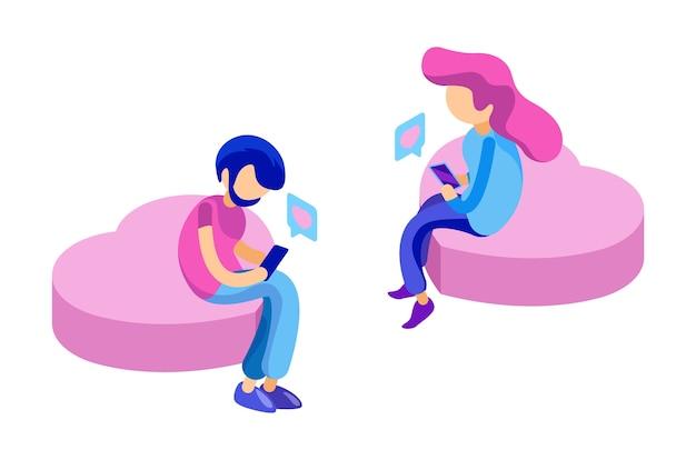 Randki w internecie. młodzi ludzie rozmawiają w internecie. izometryczna koncepcja aplikacji randkowej. wektor mężczyzna i kobieta zakochani w smartfonach. ilustracja kobieta i mężczyzna online, połączenie i komunikacja