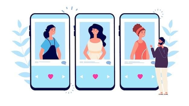 Randki w internecie. samotny mężczyzna szuka pary w aplikacji randkowej telefonu. mężczyzna wybiera między dziewczynami ilustracji wektorowych.