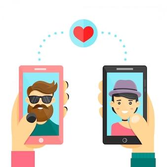 Randkowa aplikacja do miłości. mężczyźni i kobiety używają smarphone do rozwijania relacji i randek. nowoczesne mieszkanie postać z kreskówki. pojedynczo na białym