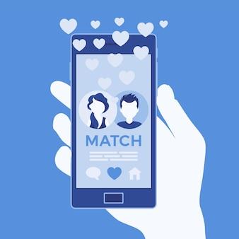 Randkowa aplikacja mobilna z meczem na ekranie smartfona. mężczyzna, kobieta razem, spotkać partnera życiowego, serwis społecznościowy, ręka trzyma telefon. ilustracja wektorowa, postacie bez twarzy