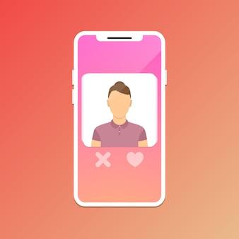 Randkowa koncepcja aplikacji mobilnej.