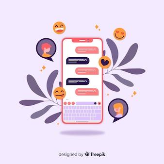 Randkowa koncepcja aplikacji z czatem i emoji