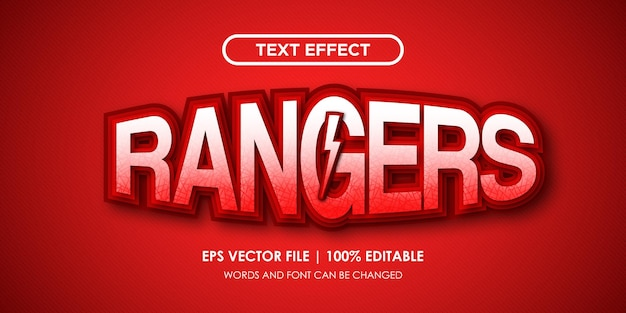 Rangers czerwony efekt tekstowy edytowalny