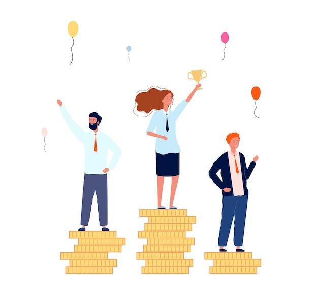 Ranking zwycięzców. biznesmeni na cokołach pieniędzy. kobieta z koncepcją wektor złoty puchar zwycięstwa