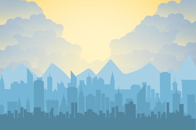 Rano panoramę miasta.