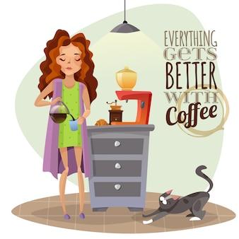 Rano przebudzenie z filiżanką kawy