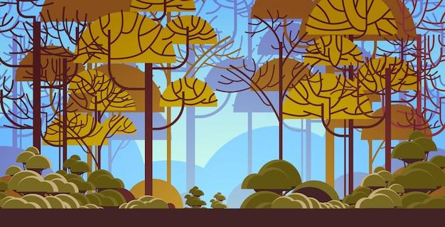 Rano zielony drzewo las piękna przyroda krajobraz płaskie poziome
