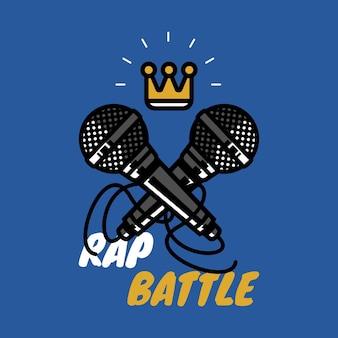 Rap bitwa znak z koroną i dwoma mikrofonami hip hop party wektor ikona ilustracja