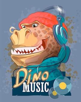 Raper dinozaura w słuchawkach i ilustracja kapelusza