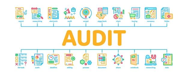Raport audytu finansów minimalny infografika web banner wektor. badanie firmowego audytu finansowego i dokumentacji, obliczanie kolorów kredytu i debetu