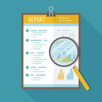 Raport biznesowy, dokument papierowy z lupą. ikona na białym tle z długim cieniem. wykresy wykresów na papierze. księgowość, analizy, badania, planowanie, audyt, raport, zarządzanie.