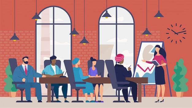 Raport biznesowy o postępach w zakresie transparentu, kreskówka.