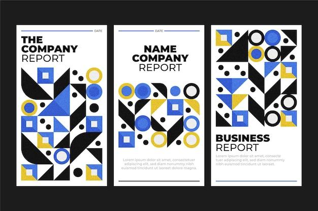 Raport firmy obejmuje geometryczne okładki biznesowe