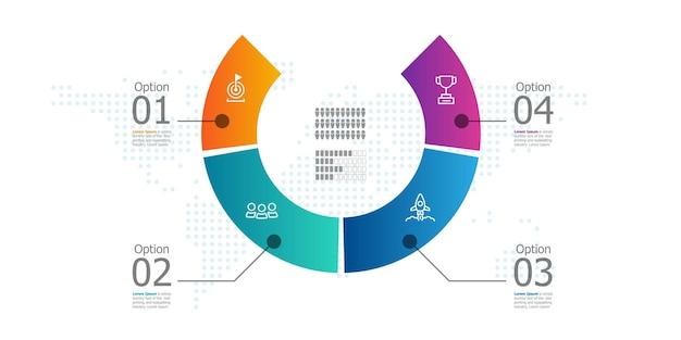 Raport prezentacji infografiki abstrakcyjne koło osi czasu z ikoną 4 kroki ilustracji wektorowych