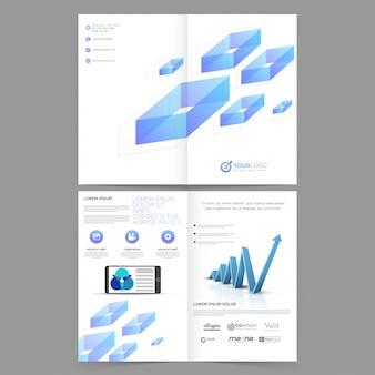 Raport roczny firmy broszura, szablon korporacyjny z niebieskimi abstrakcyjnymi elementami geometrycznymi i strzałką wzrostu infograficznego.