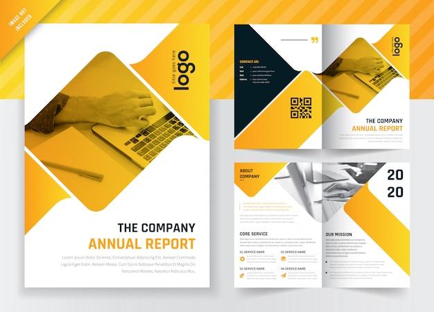 Raport roczny firmy koncepcja bi-fold broszura szablon projektu.