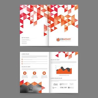 Raport roczny korporacji biznesowej broszura projektowa, profesjonalna prezentacja szablonów z abstrakcyjnymi trójkątnymi kształtami, wykres statystyczny i przestrzeń na zdjęcia.