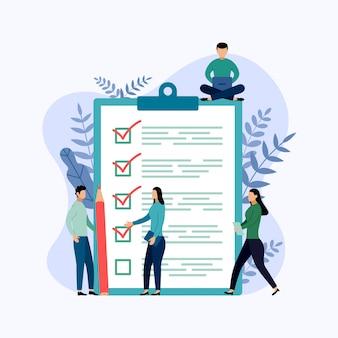 Raport z ankiety, lista kontrolna, kwestionariusz, ilustracja biznesowa