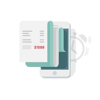 Raportowanie danych finansowych planowania na telefon komórkowy lub smartphone statystyki informacji wektorowych ilustracji