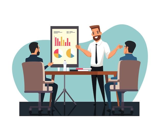 Raportowanie postaci biznesmena z wynikami analitycznymi przed kolegą
