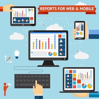 Raporty dla sieci web i mobile vector z kolorowymi wyświetlaczami wykresów, wykresów i statystyk wyświetlanych na ekranach stacjonarnego laptopa, telefonu komórkowego i tabletu zsynchronizowanych przez chmurę