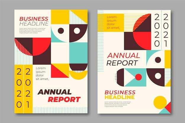 Raporty roczne szablony kształtów geometrycznych