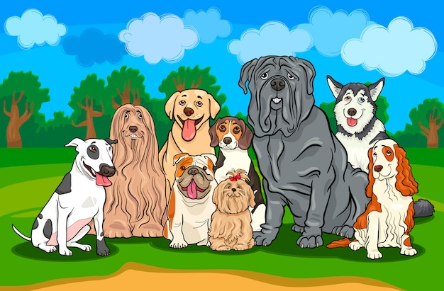 Rasowe psy grupa ilustracja kreskówka