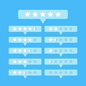 Ratingowe białe gwiazdy ustawiają guzika na błękitnym tło wektorze