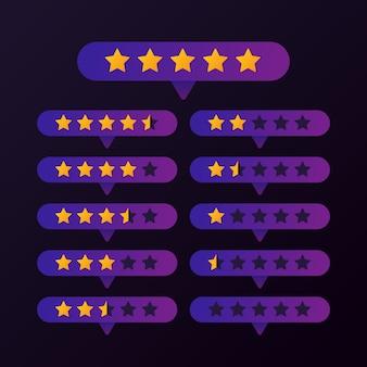 Ratingowe złote gwiazdy ustawiają guzika na purpurowym tło wektorze