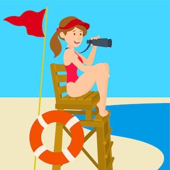 Ratownik dziewczyna w czerwonym kostiumie kąpielowym siedzi na wieży widokowej