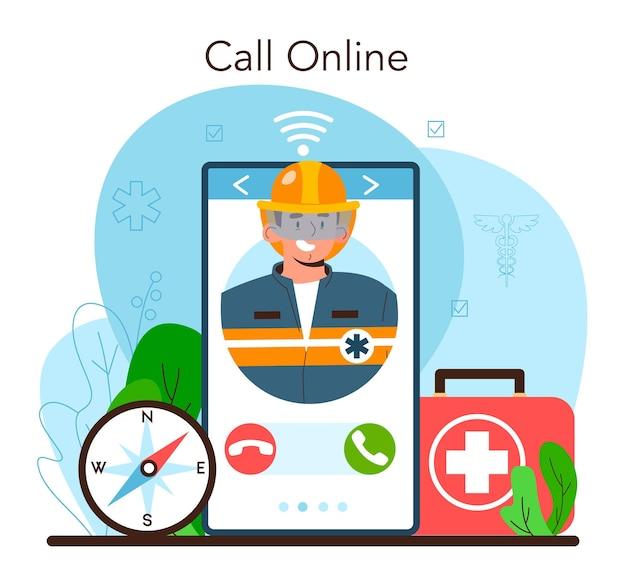 Ratownik online lub platforma pomocy w nagłych wypadkach ratownik