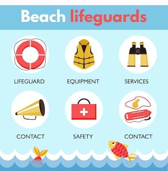 Ratownik plażowy patrol ikony infografika zestaw ilustracji wektorowych płaski na białym tle