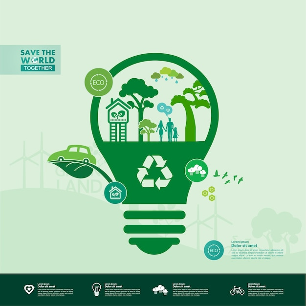 Ratujmy razem świat. zielona ilustracja ekologii.