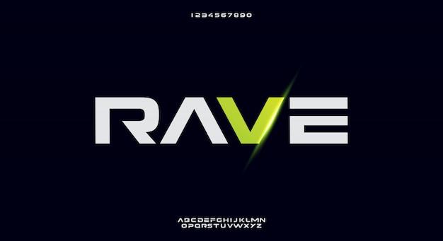 Rave, abstrakcyjna futurystyczna czcionka alfabetu z motywem technologicznym. nowoczesny minimalistyczny projekt typografii