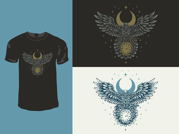Raven crow and the clock vintage t-shirt design