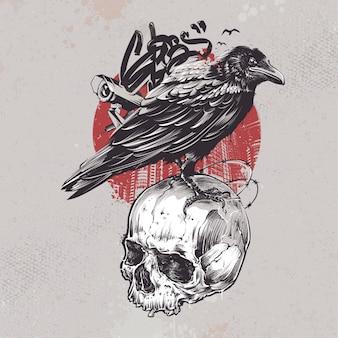 Raven i czaszki tle