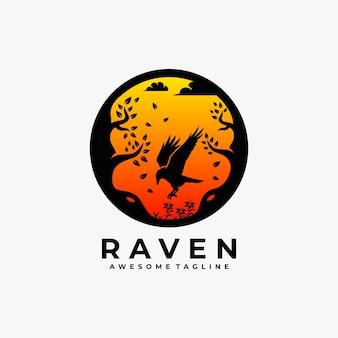 Raven sunset streszczenie logo projekt ilustracji