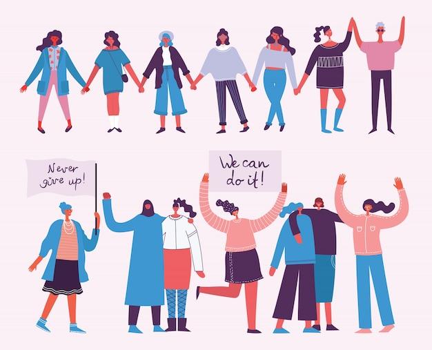 Razem silniejsi. koncepcja kobiecości i wzmocnienie pozycji kobiety dla banerów i plakatów w płaskiej konstrukcji