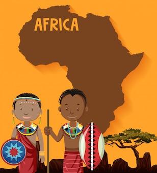 Rdzenne plemiona afrykańskie z mapą