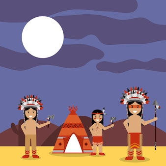 Rdzenni amerykanie indianie z teepee i nocnym krajobrazem