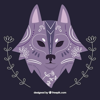 Rę cznie narysowane etnicznych wilk tle z kwiatu szczegã³å,y