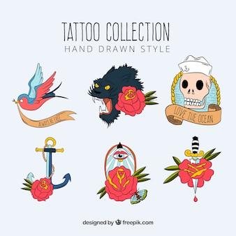 Rę cznie narysowane klasycznej starej szkole tatuaż kolekcji