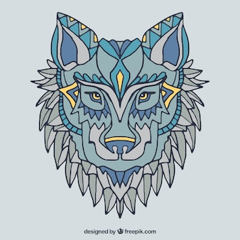 Rę cznie narysowane tle etniczne wilk