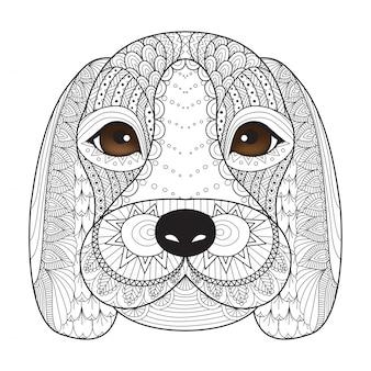 Rę cznie narysowanego głowy psa tle