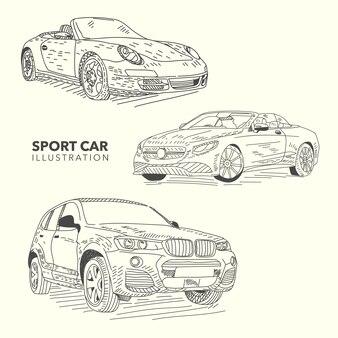 Rę cznie rysowane samochody sportowe
