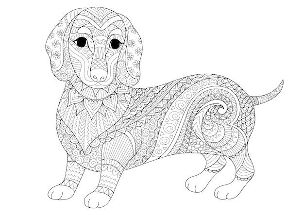 Rę cznie rysowane tle psa