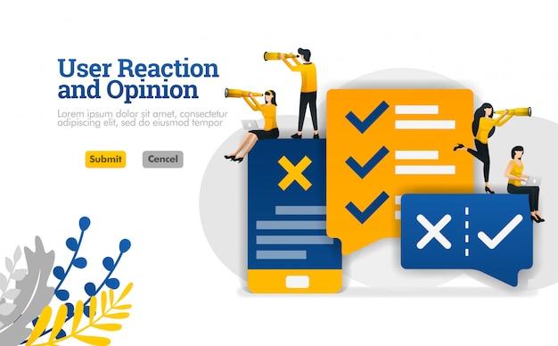 Reakcja użytkownika i opinia na temat rozmowy z aplikacjami. dla ilustracji branży marketingowej i reklamowej