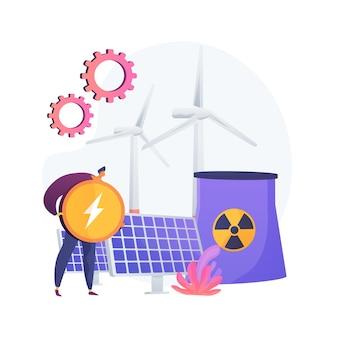 Reaktor atomowy, wiatrak i bateria słoneczna, produkcja energii. elektrownia jądrowa, proces rozszczepienia atomu. otrzymywanie metafory ładunku elektrycznego.