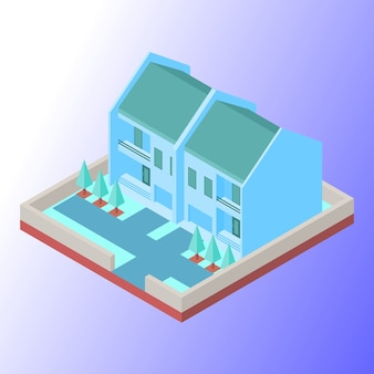 Real estate house buildings with soft coloured