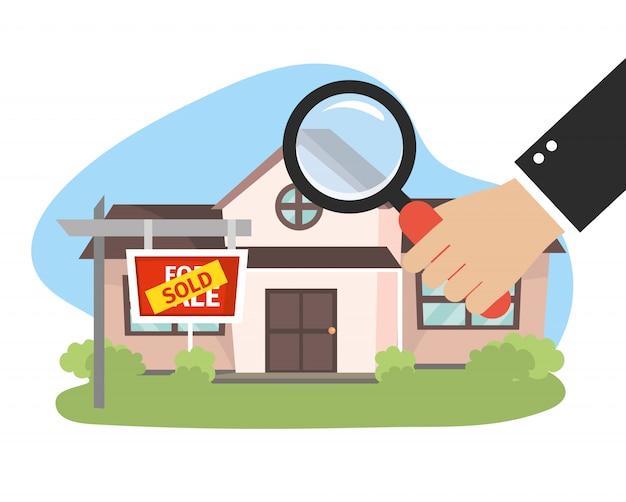 Real state house sprzedane i biznesmen z lupą